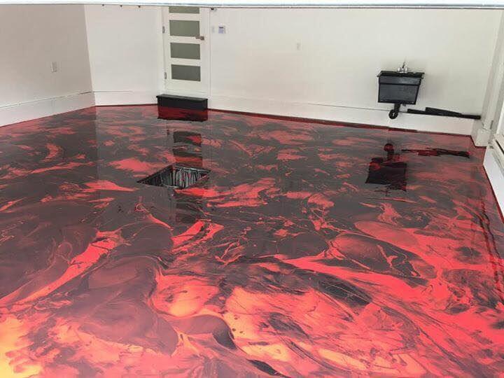 red and black epoxy floor